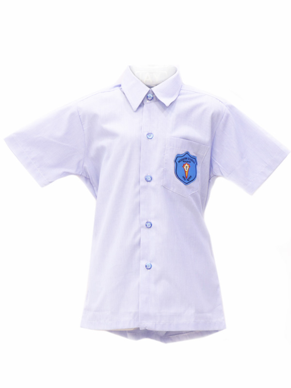 Sky blue pin striped Shirt with school name buttons For Boys