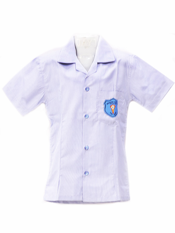 Sky Blue pin striped Blouse with monogram & school name buttons