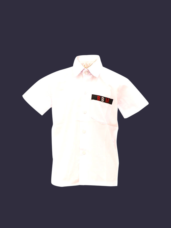 White Shirt Half Sleeves With BBM Monogram For Boys & Girls PRE-NURSERY To KG-II
