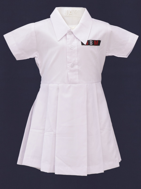 White Frock with Box Pleats (with BBM Monogram) PRE-NURSERY to KG-II
