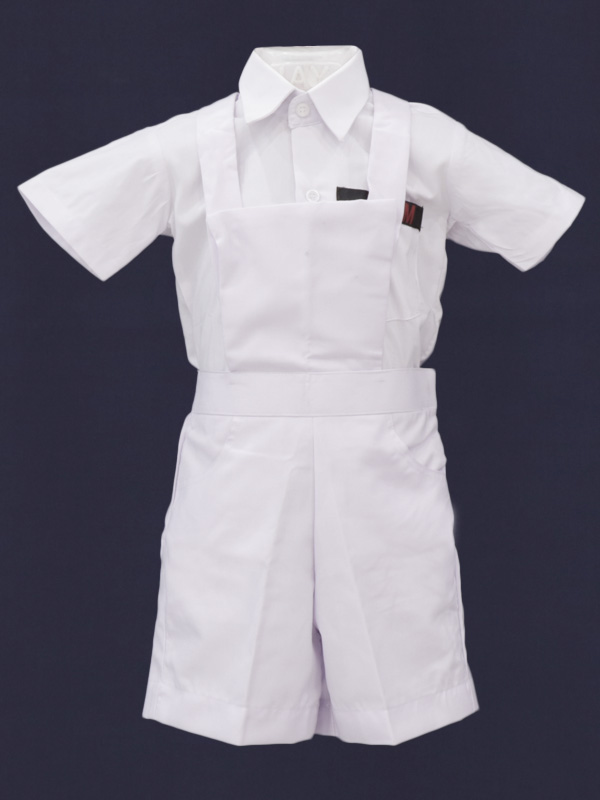 White Half Pant with Bib & Gallies PRE-NURSERY to KG-II
