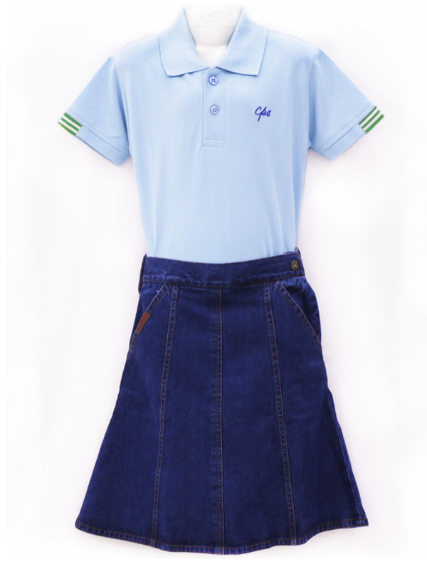 Denim Skirt (with CPS Mono) FOR STD. I to V GIRLS