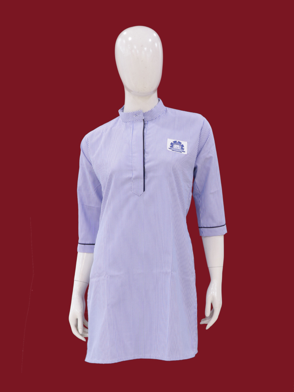 N.BLUE STRIP ¾  SLEEVES SHORT KURTI WITH MONO