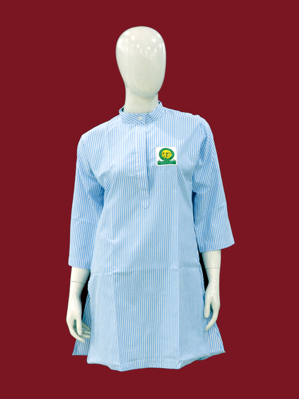 S-BLUE STRIP ¾ SLEEVES SHORT KURTI WITH MONO