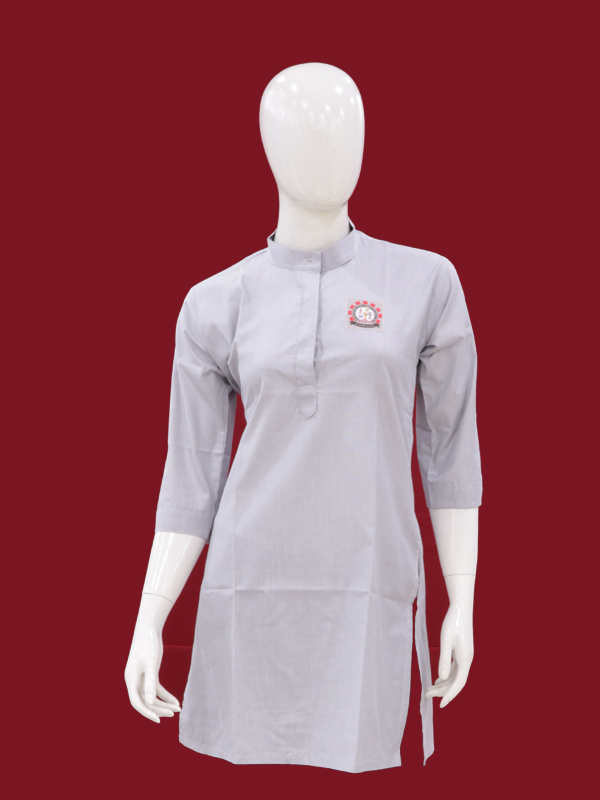 LIGHT GREY SHORT KURTI  ¾ SLEEVES WITH MONO FOR GIRLS