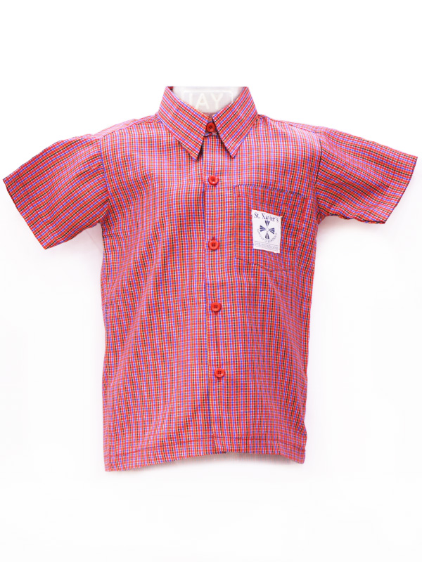 Red Checks Shirt H-S (with Monogram) For Boys